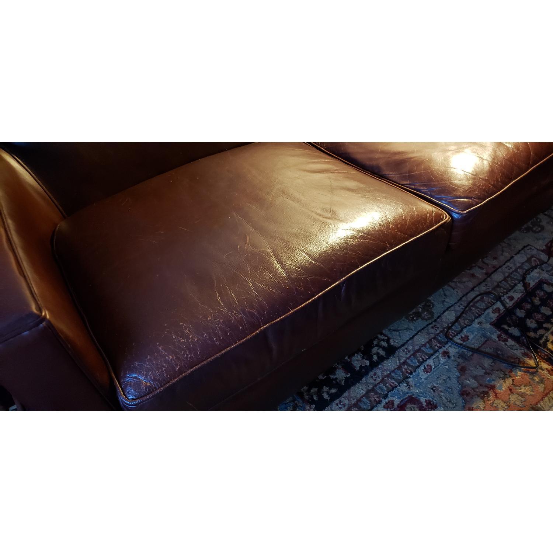 Crate & Barrel Briarwood Leather Loveseat