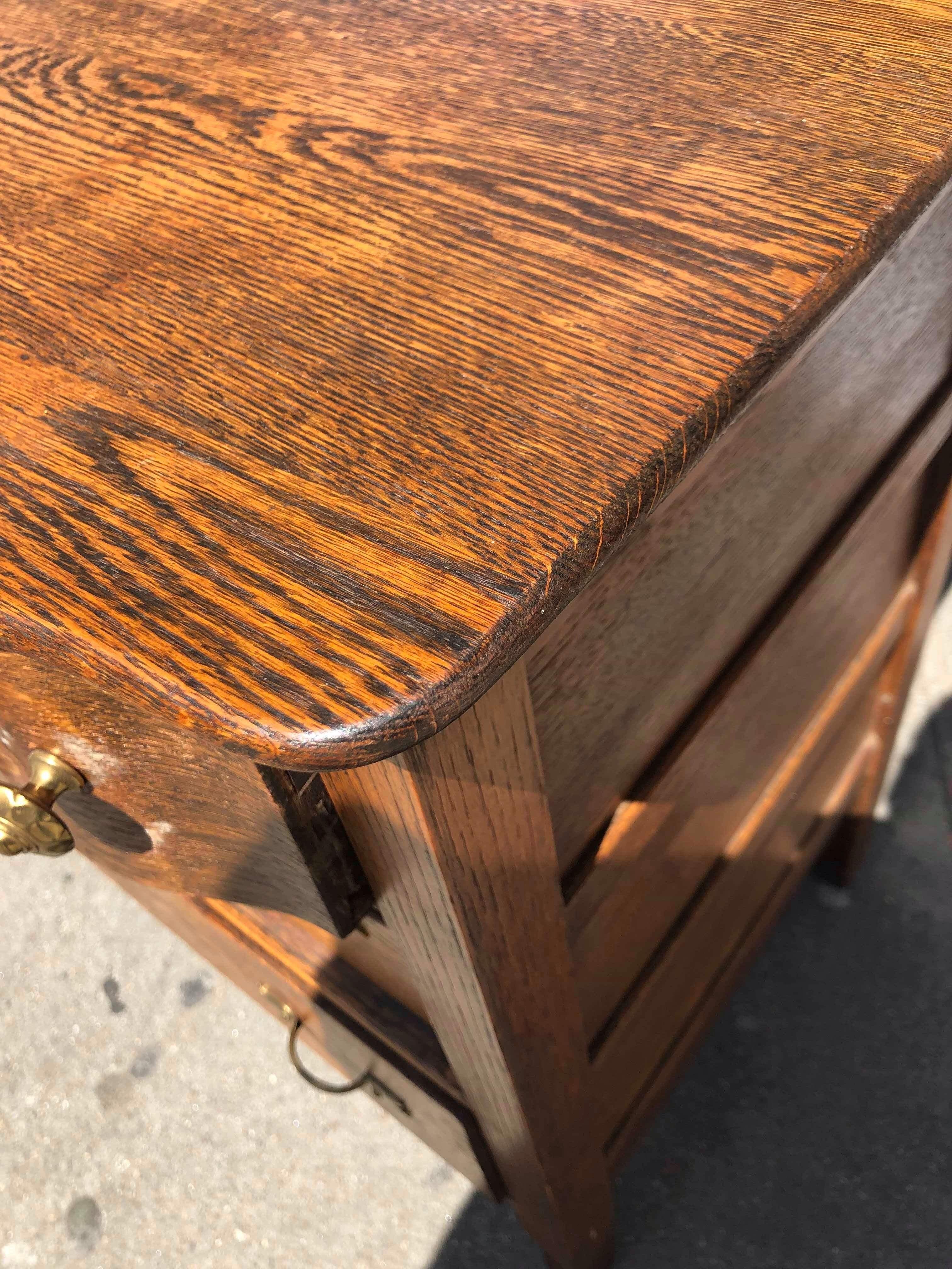 Vintage Solid Oak Dresser w/ Mirror
