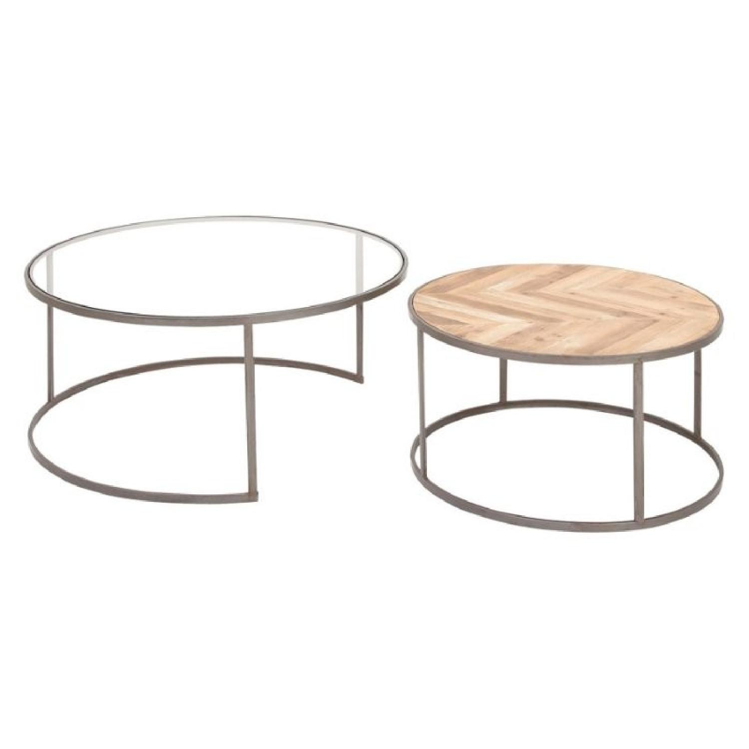 DecMode Round Rustic Contemporary Coffee Tables