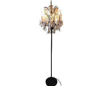 Restoration Hardware 19th C Rococo Iron & Crystal Floor Lamp