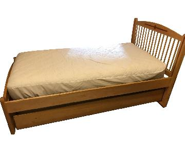 Solid Maple Wood Twin Bed w/ Trundle