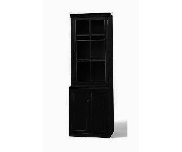 Pottery Barn Logan Single Bookcase w/ Glass Doors in Black