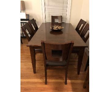 Expandable Dining Room Table w/ 6 Leather/Wood Chairs