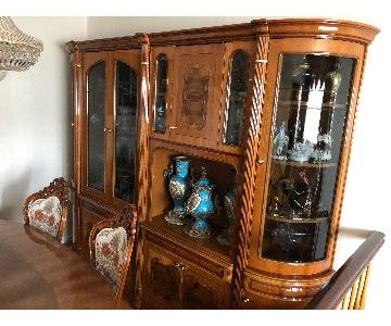 Venetian Style Natural Wood Inlaid Wall Unit