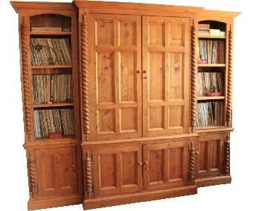 ABC Carpet & Home Custom Pine Media Center w/ Pocket Doors
