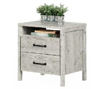 Gray Wooden 2 Drawer Nightstand