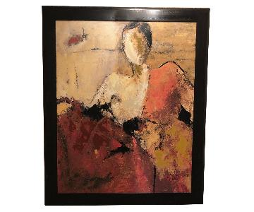 Painting on Canvas w/ Black Wood Frame