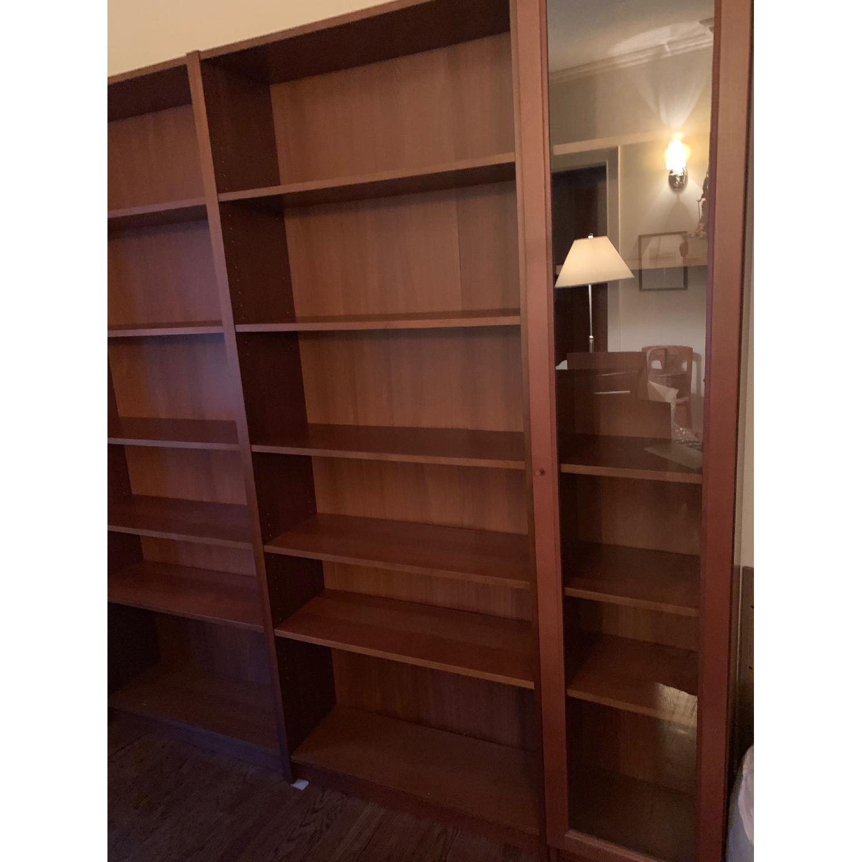 Ikea Billy Brown Bookshelves W Glass Doors Aptdeco