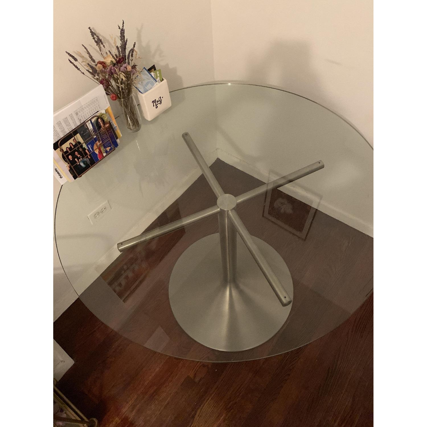 Room & Board Glass Round Table w/ Stainless Steel Base-0