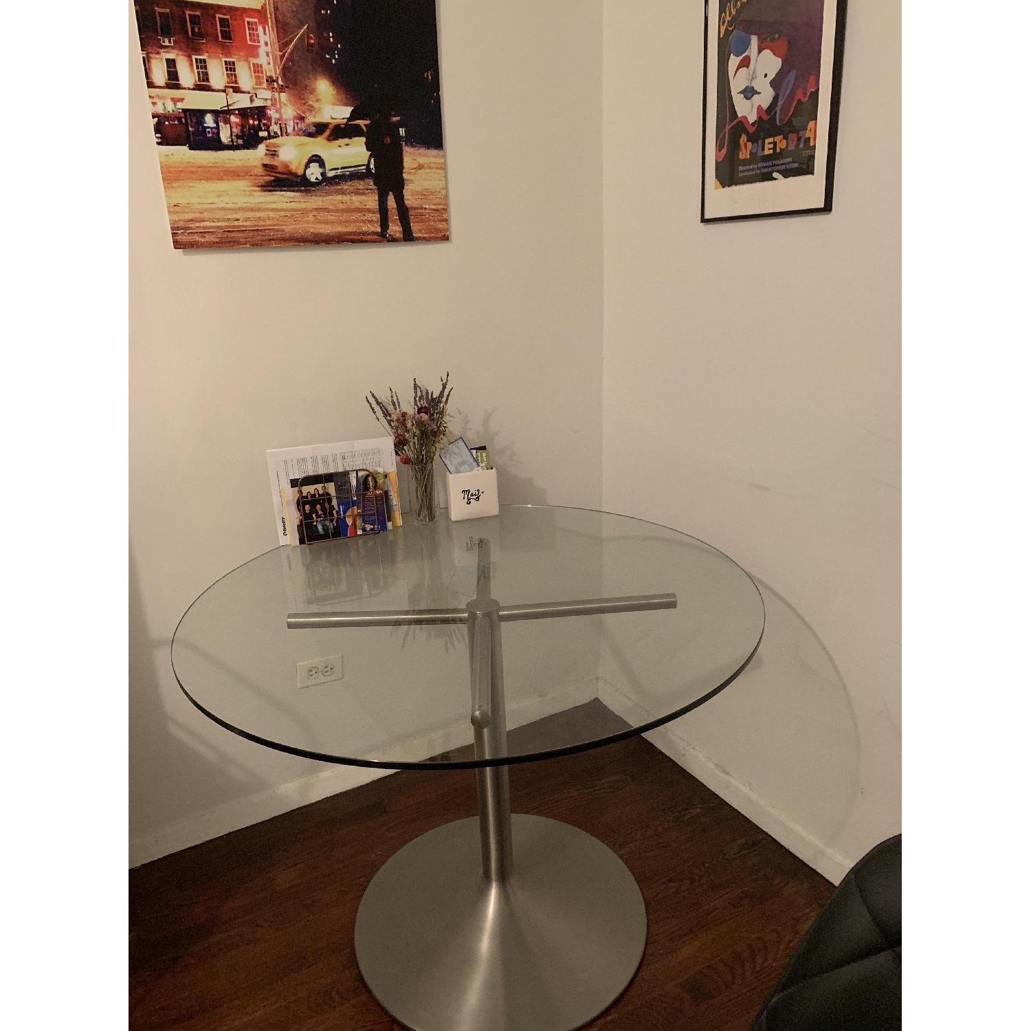 Room & Board Glass Round Table w/ Stainless Steel Base-1