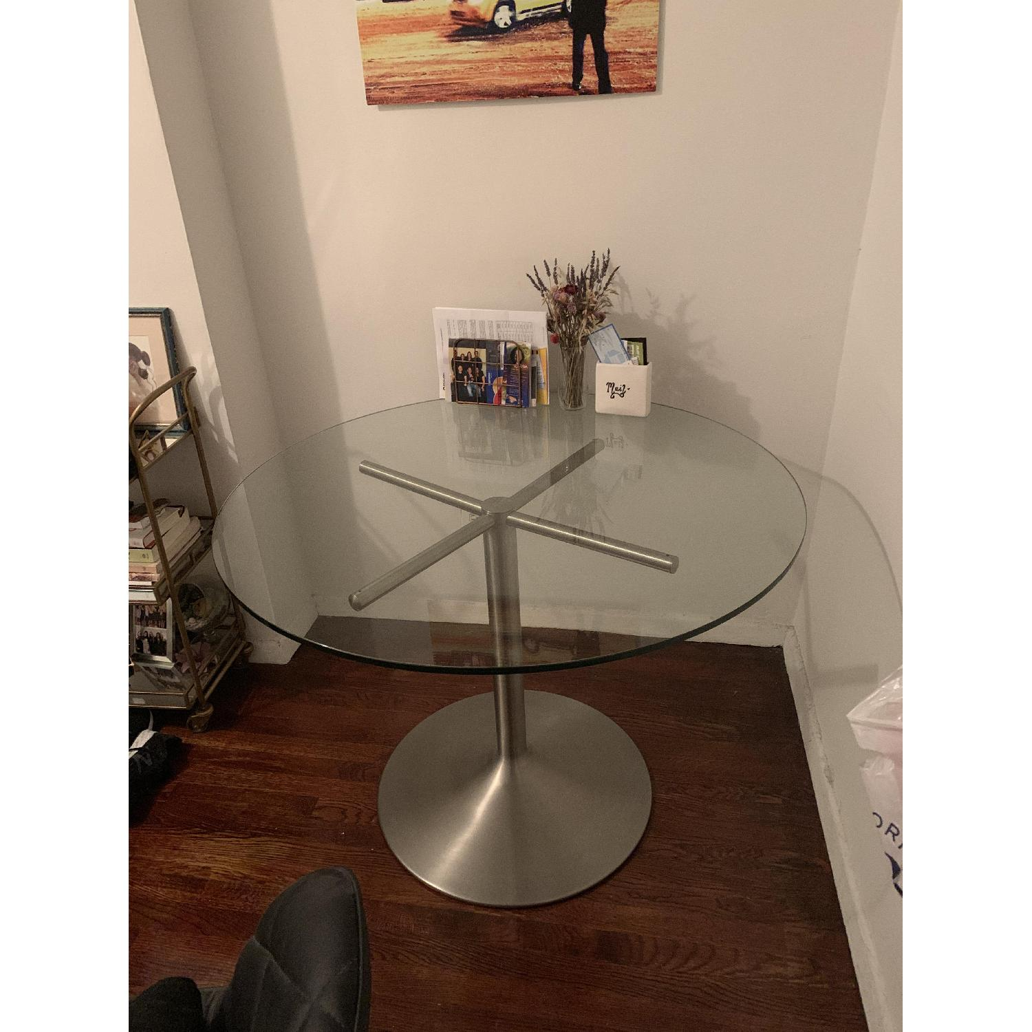 Room & Board Glass Round Table w/ Stainless Steel Base-2