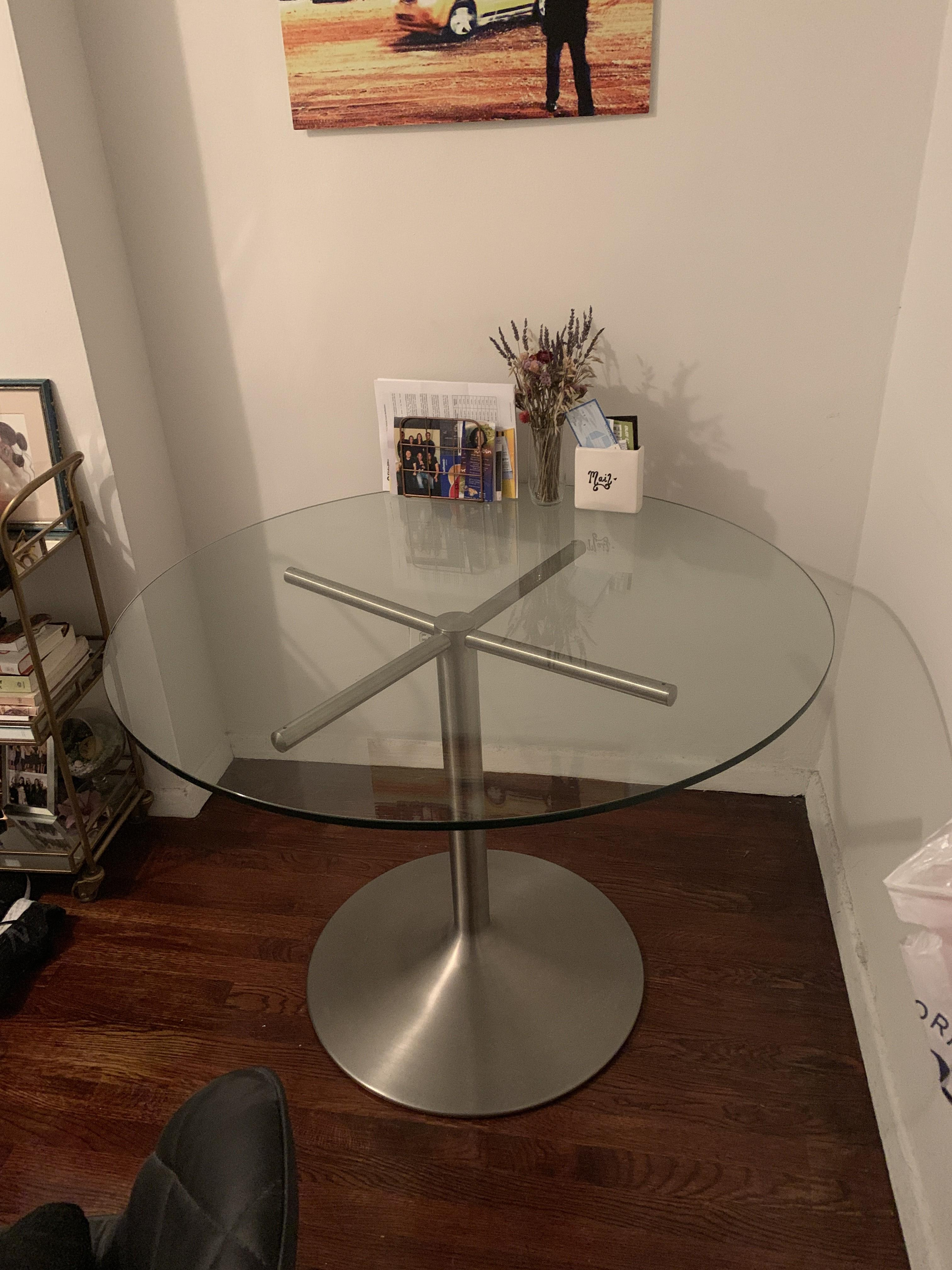 Room & Board Glass Round Table w/ Stainless Steel Base