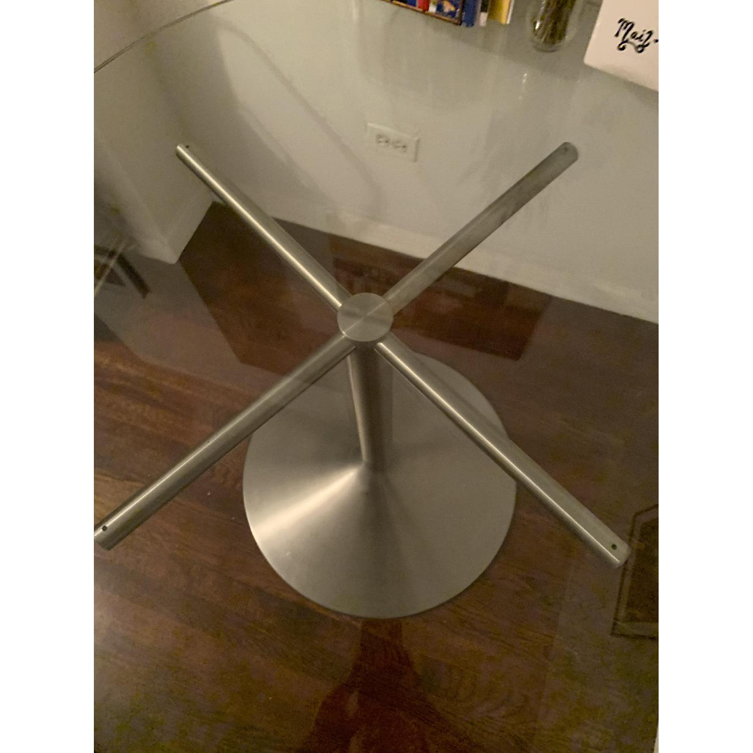 Room & Board Glass Round Table w/ Stainless Steel Base-3