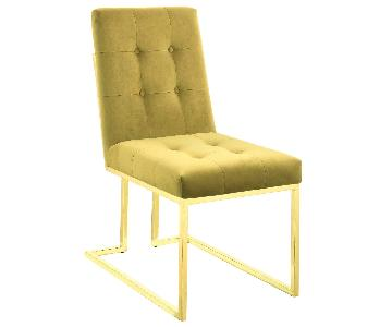 Dining Chair in Mustard Fabric w/ Brass Color Legs