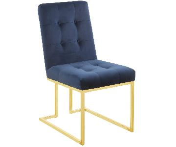 Dining Chair in Ink Blue Fabric w/ Brass Color Legs