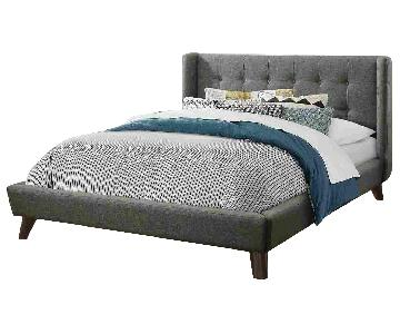 Mid-Century Style Platform Bed in Grey Fabric