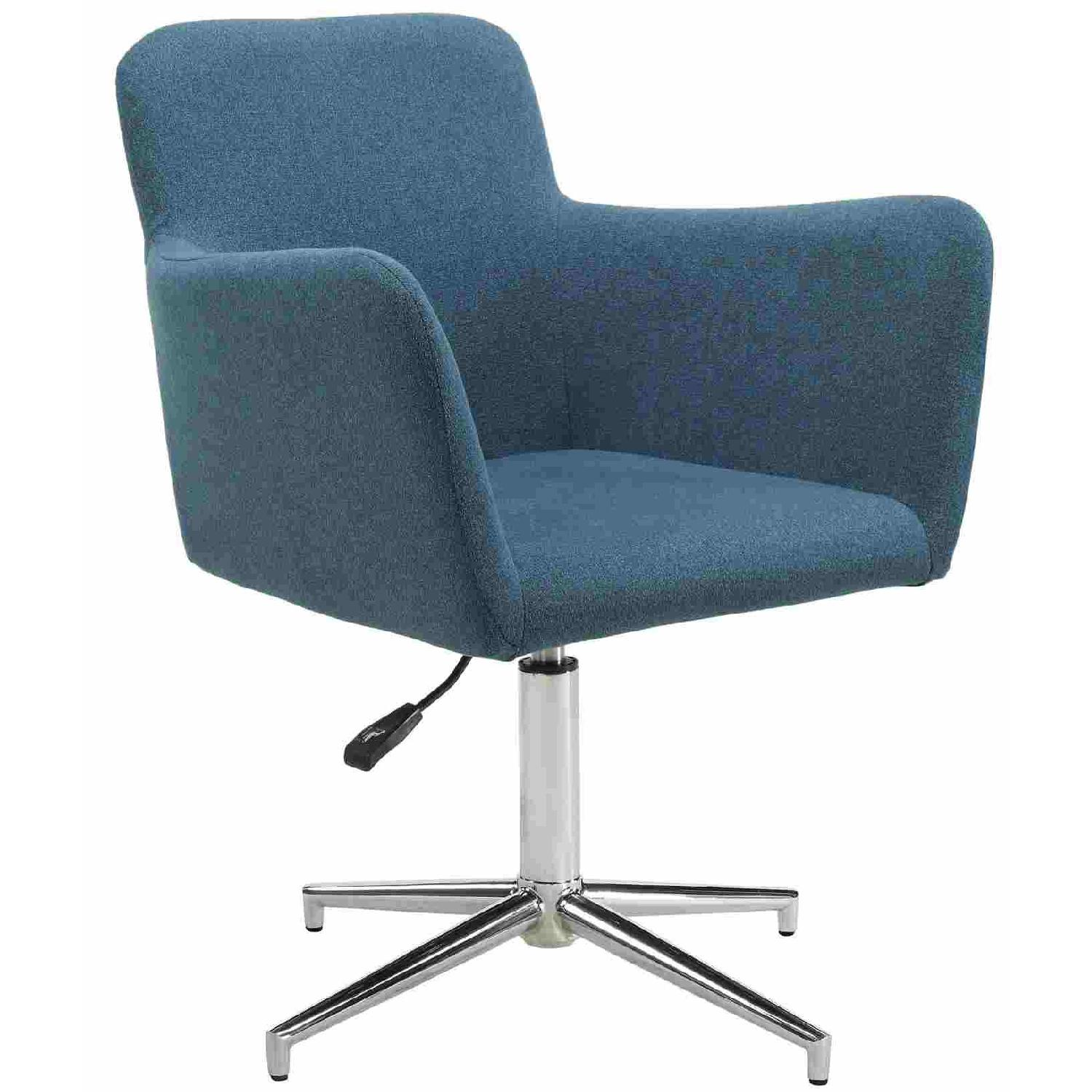 Modern Height Adjustable Dining Chair in Blue Fabric
