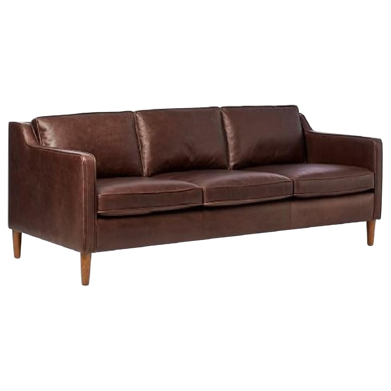 West Elm Hamilton Sofa in Mocha Leather