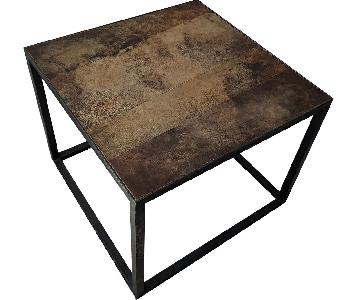 ABC Home Metal Leather Top Side/Coffee Tables