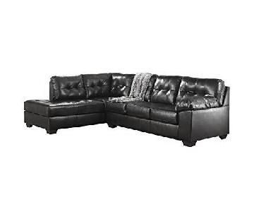Ashley Black Leather Tufted Sectional Sofa