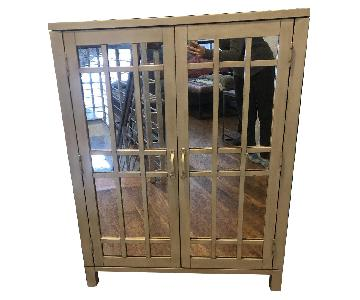 Pottery Barn Distressed Mirrored Bar Cabinet