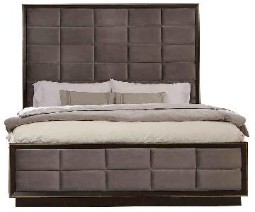 Queen Modern Panel Bed in Dark Espresso Finish