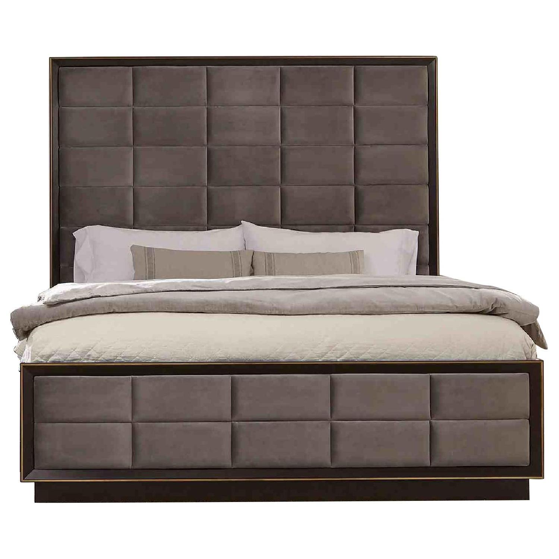 King Size Modern Panel Bed in Dark Espresso Finish