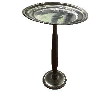 Bombay & Company Silver Tone Pedestal Side Table