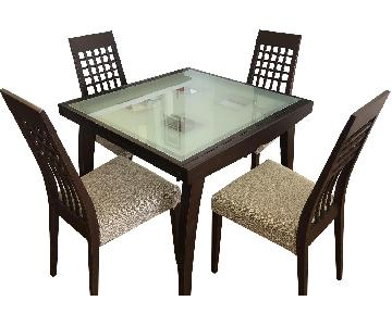 Calligaris Glass & Wood Extendable Dining Table w/ 4 Chairs