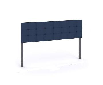 Silver Lake Morton Navy Blue Tufted Fabric Headboard