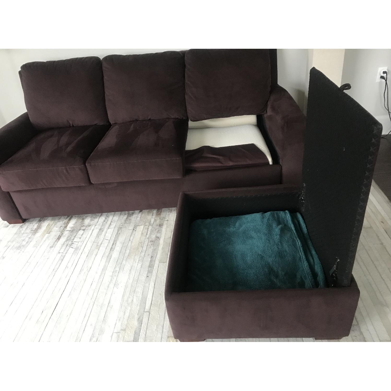 American Leather Queen Sleeper Sectional Sofa w/ - AptDeco