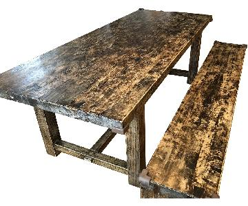 Custom Made Wood Farm Table w/ Matching Bench