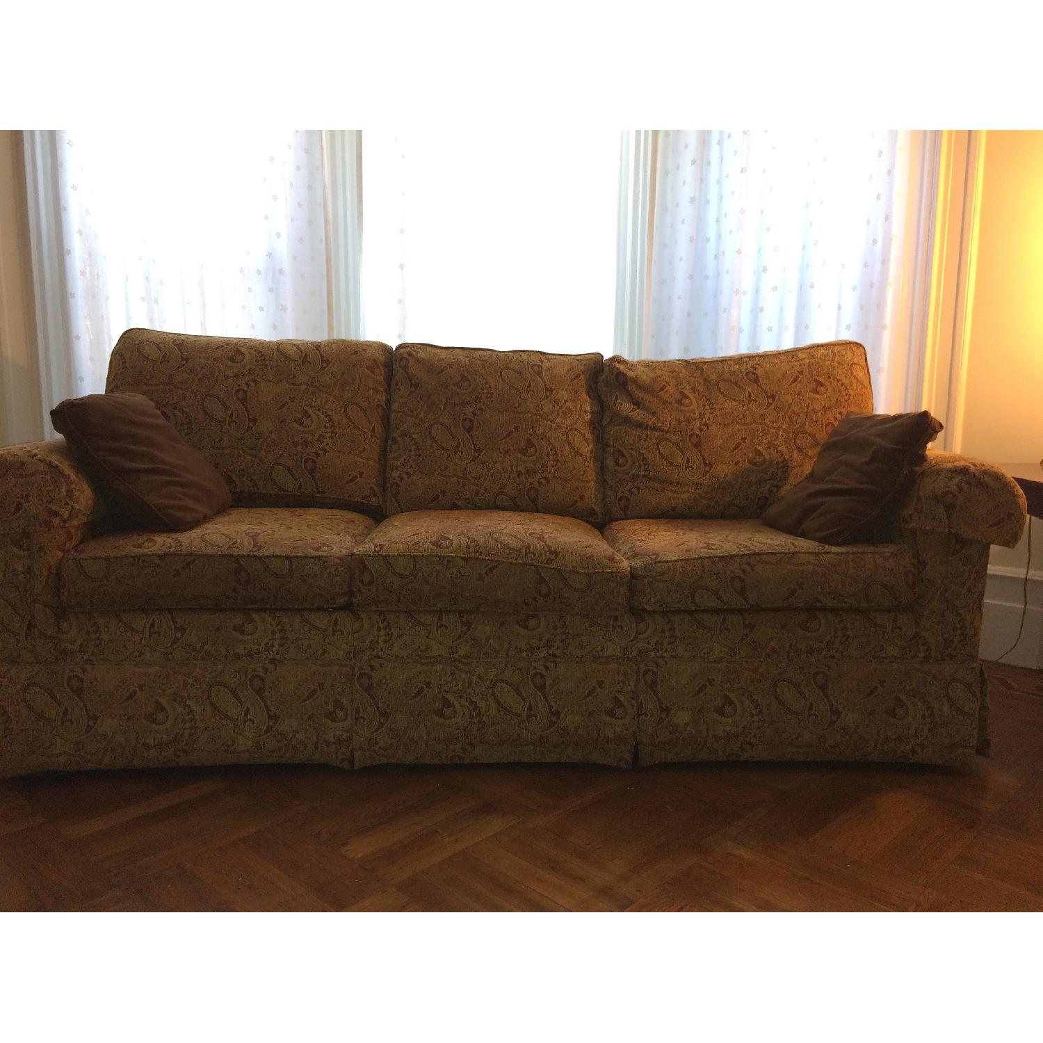 Ethan Allen Slipcovered Rolled Arm Sofa-0