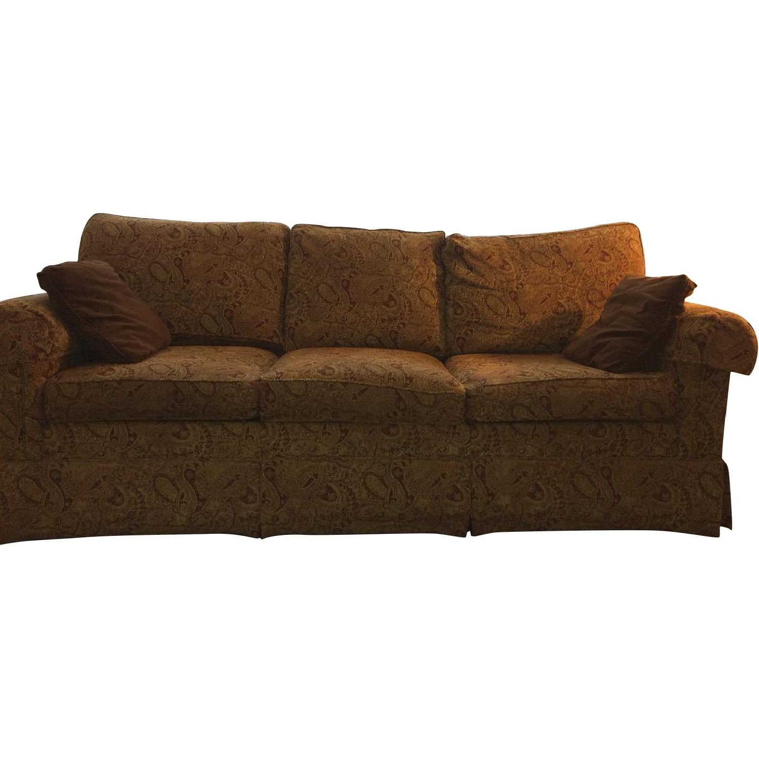 Ethan Allen Slipcovered Rolled Arm Sofa