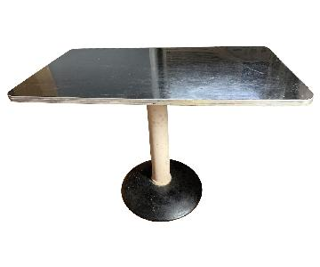Retro Black Formica & Chrome Diner-Style Table