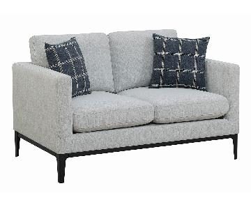 Modern Fabric Loveseat in Light Grey w/ Track Arms & Pillows