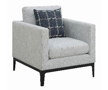 Modern Fabric Arm Chair in Light Grey w/ Track Arms & Pillow