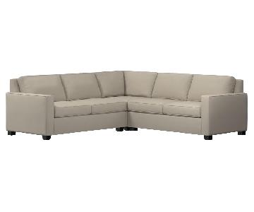 Oatmeal Fabric Sectional Sofa w/ Nailhead Accent & Pillows