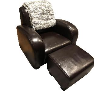 The Door Store Leather Chair & Ottoman