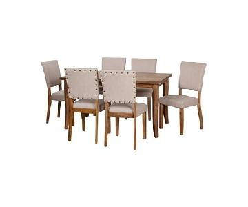 Simple Living Provence Wood Table w/ 6 Nailhead Chairs