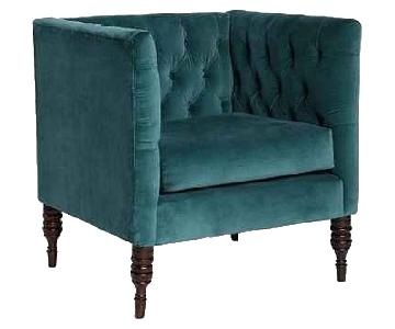 Urban Outfitters Velvet Tufted Dark Turquoise Chair
