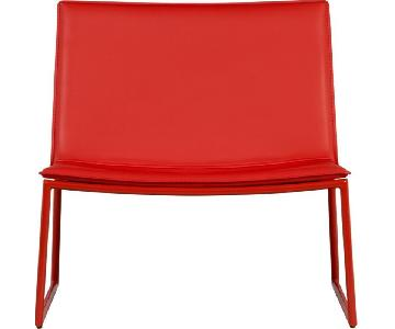 CB2 Triumph Leather Chair in Red