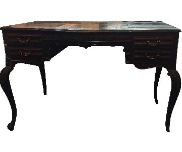 Ornate Desk w/ 4 Inlaid Leather Drawers & Secret Compartment