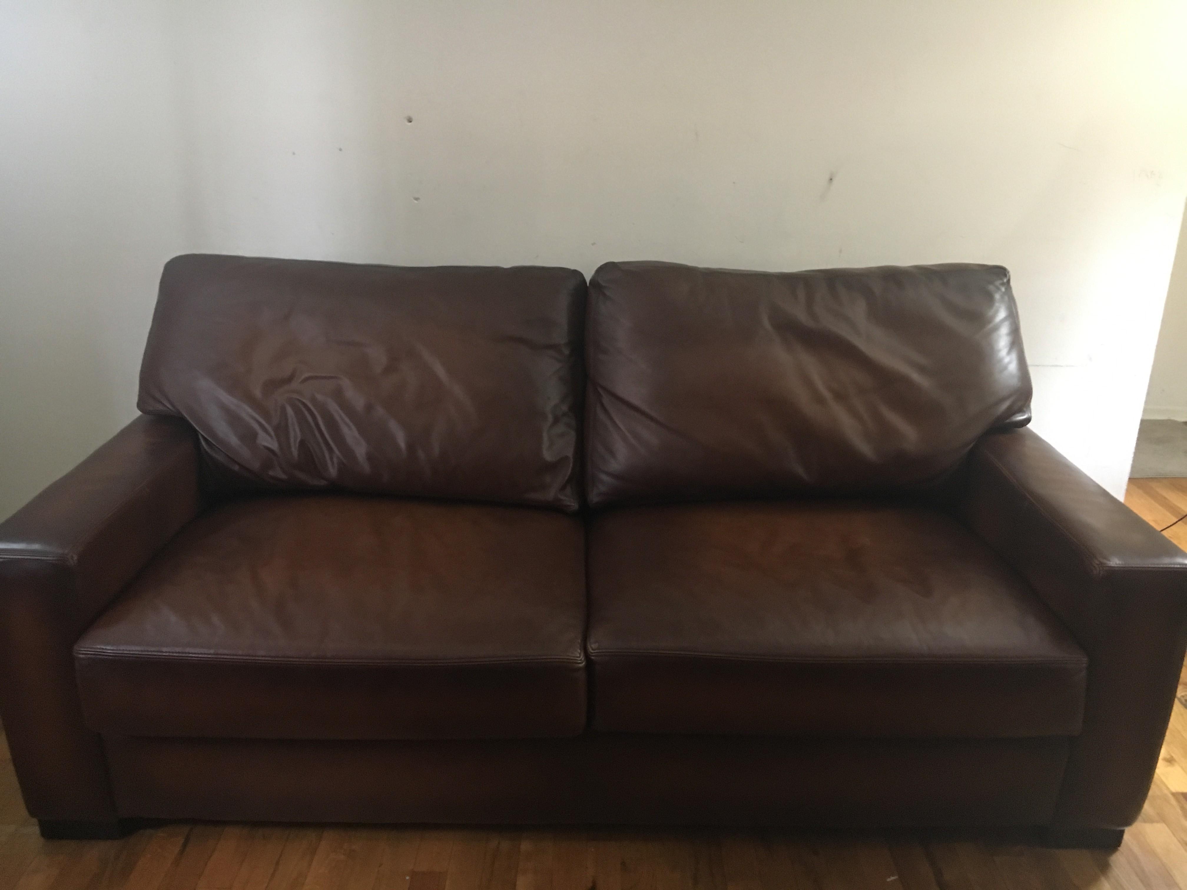 Pottery Barn Leather Sofa in Dark Brown
