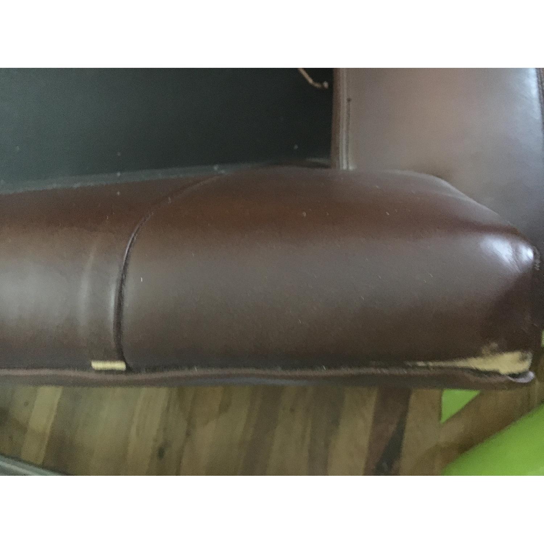 Pottery Barn Leather Sofa in Dark Brown-1