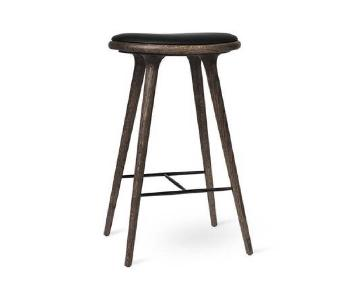 Mater Danish Modern Black Leather & Oak Wood Bar Stool