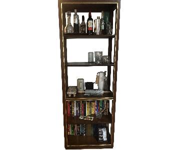 Mid-Century Style Wood Tall Bookshelf w/ Gold Trim