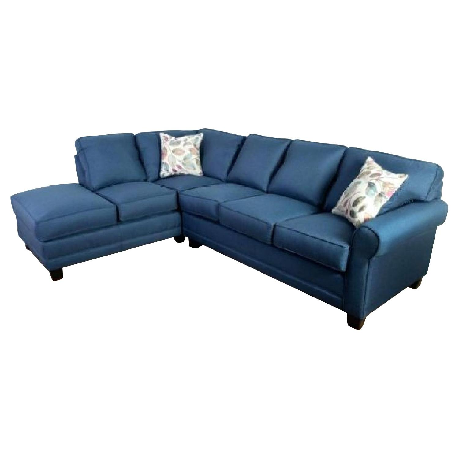 Galena Blue Sectional Sofa w/ Chaise - AptDeco