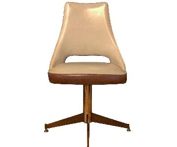 Vintage Mid Century Reupholstered Leather Swivel Chair