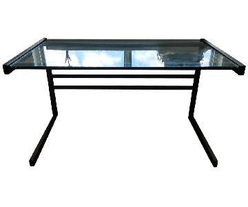 Wrought Iron Glass Desk